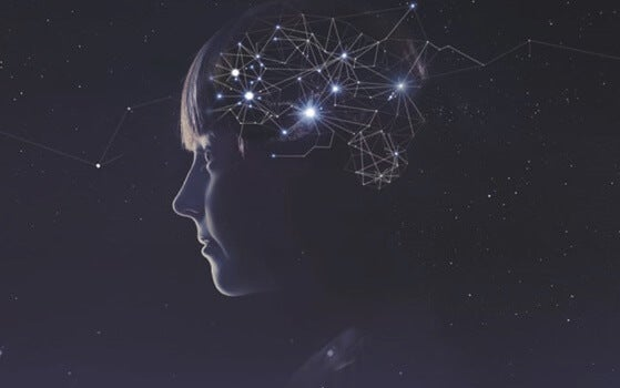 niña con constelaciones en el cerebro simbolizando el efecto de la vitamina C