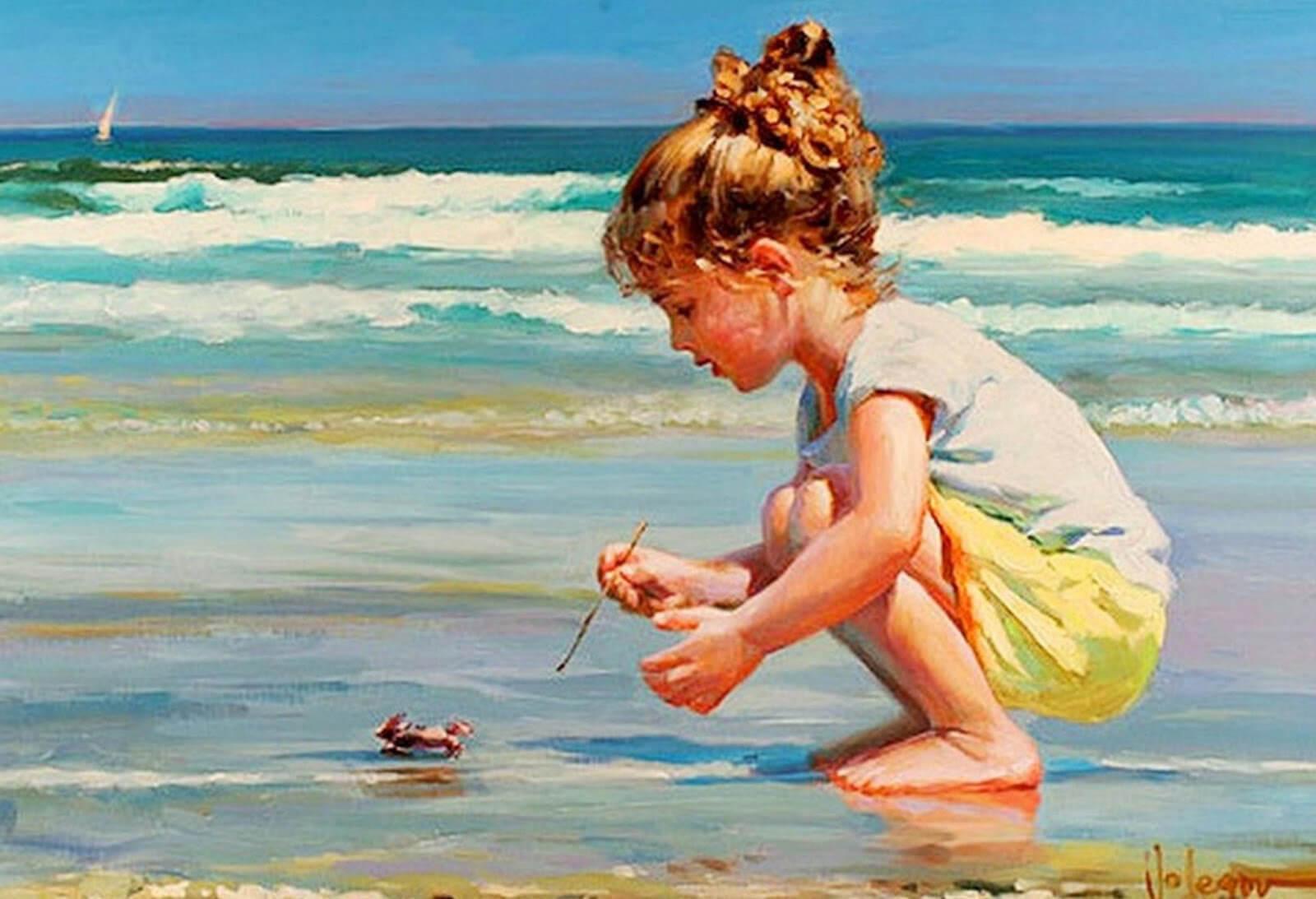 niña en la playa simbolizando las frases de Alexander Pushkin