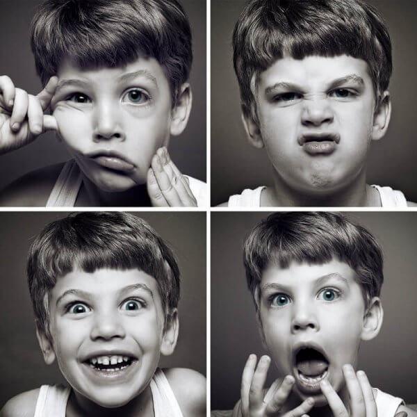 Niño con diferentes caras para representar la necesidad de fortalecer nuestro vocabulario emocional