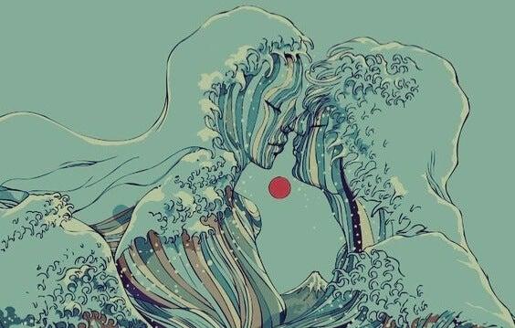 pareja formando olas simbolizando el arte de aprender a amar