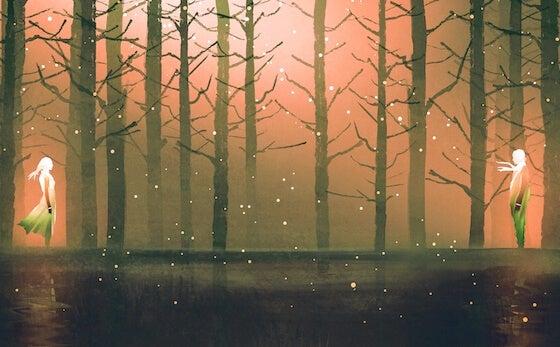 pareja en un bosque pensando en aprender a amar