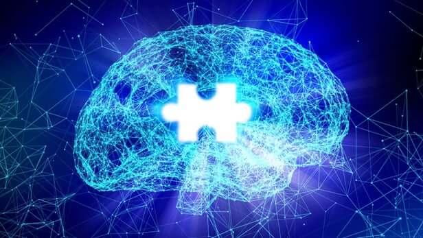 Hueco con forma de pieza de puzzle en el cerebro