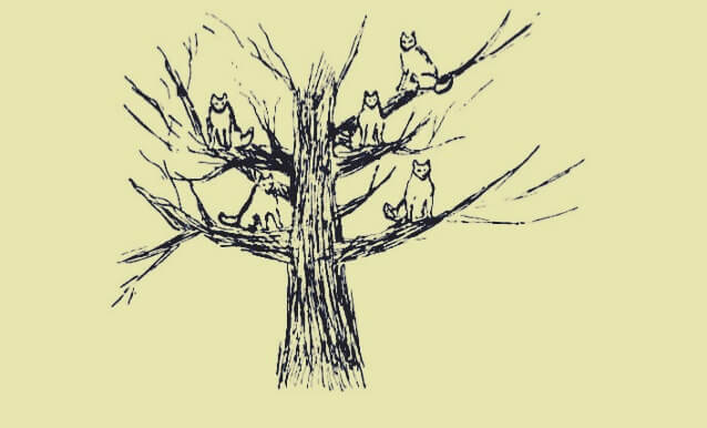dibujo simbolizando el sueño de el hombre de los lobos