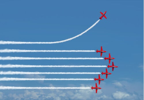 Aviones hacia la misma dirección excepto uno
