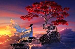 mujer ante sakura