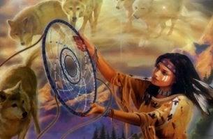 mujer lakota simbolizando al cazador de sueños