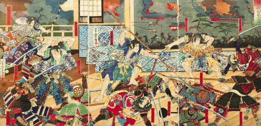 Batalla Samurai en la época feudal japonesa