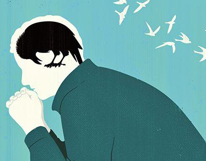 hombre con cuervo en la cabeza simbolizando los síntomas físicos de la depresión