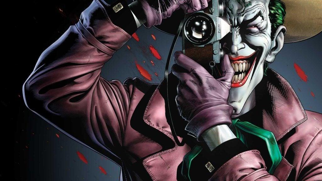 Joker con una cámara de fotos