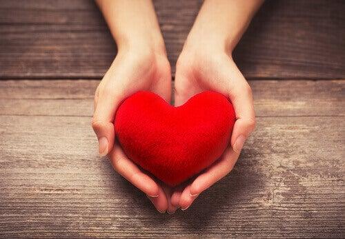 Manos ofreciendo un corazón para representar el acto de dar apoyo emocional