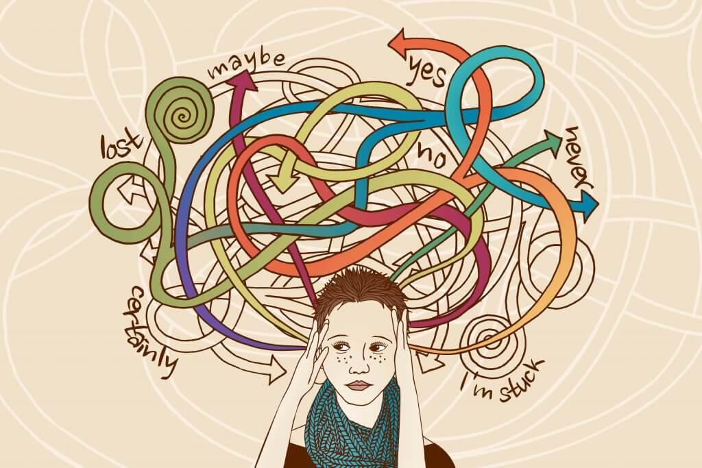 Mujer estresada pensando en muchas opciones