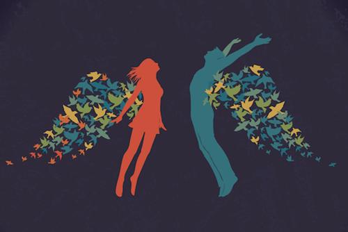 pareja con alas simbolizando que la la felicidad es un estado mental