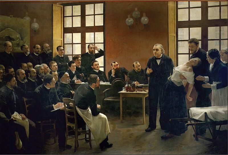 Charcot con una paciente histérica ante alumnos
