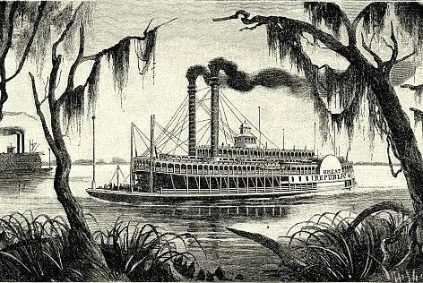 Clipper del Mississipi en los años de Mark Twain