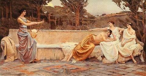 Safo de Lesbos con otras mujeres
