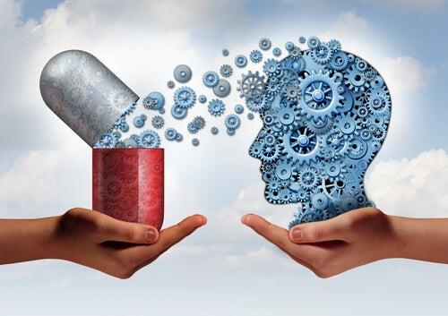 Antidepresivo liberando sustancia en el cerebro de la persona