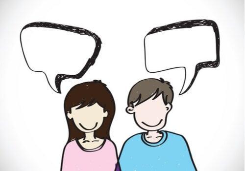 Dibujo de un hombre y una mujer hablando