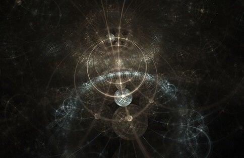 partículas representando el principio de incertidumbre de Heisenberg
