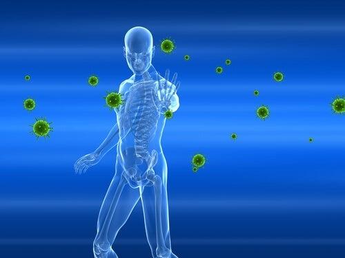 Hombre luchando contra bacterias