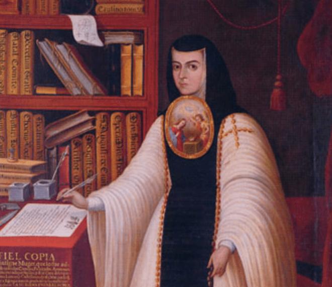 Sor Juana Inés escribiendo