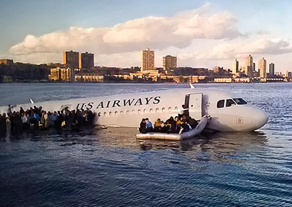 Avión en el Hudson