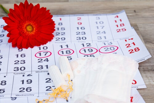 Calendario con una flor y compresas