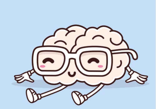 Cerebro con gafas riendo