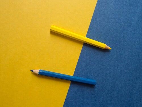Lápices de dos colores
