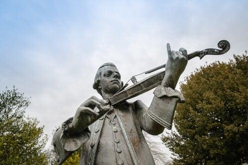 Mozart tocando el violín