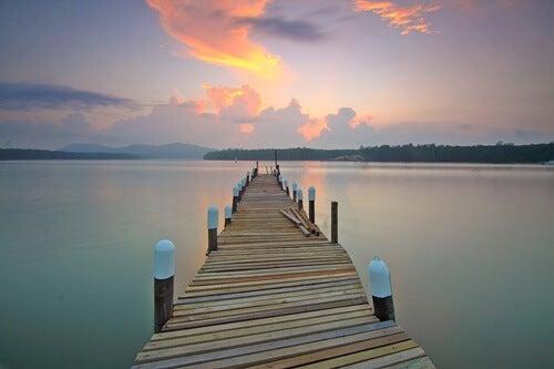 "muelle en lago simbolizando el texto ""Se llama calma"", del Dalai Lama"