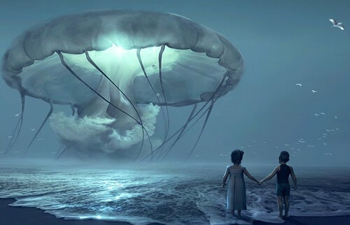 medusa gigante ante dos niños simbolizando los estilos de apego y la memoria emocional