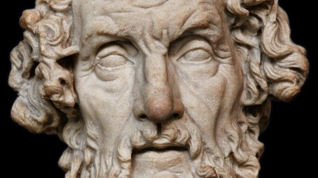 Rostro de la escultura de Homero