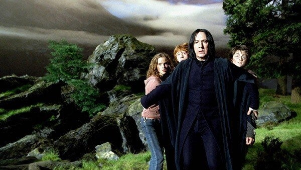 Snape con Harry Potter y Hermione