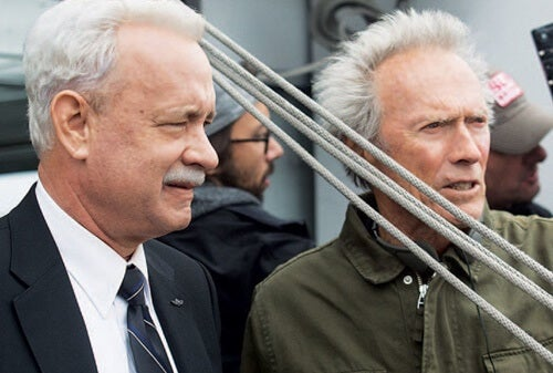 Clint Eastwood y Tom Hanks rodando el Milagro en el Hudson