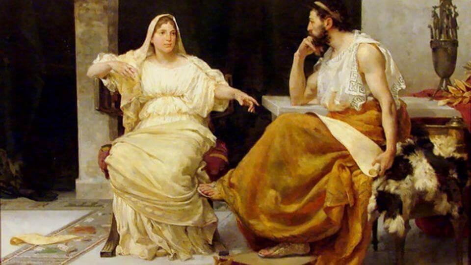 Aspasia hablando con un filósofo