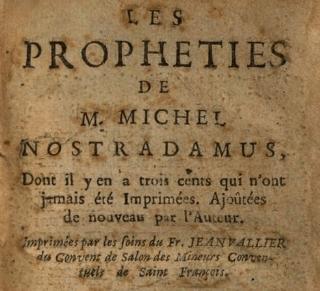 Hoja de las profecías de Nostradamus