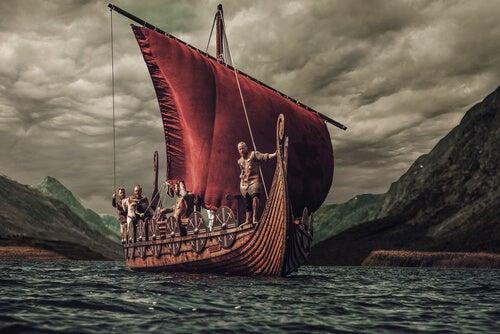 Barco con vikingos