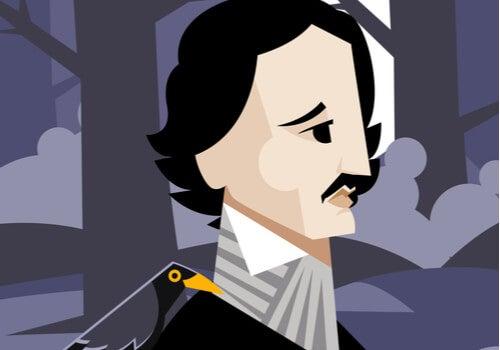 Edgar Allan Poe con un cuervo