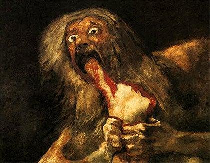 Goya, Saturno devorando a un hijo representando las psicología de las pinturas negras de Goya