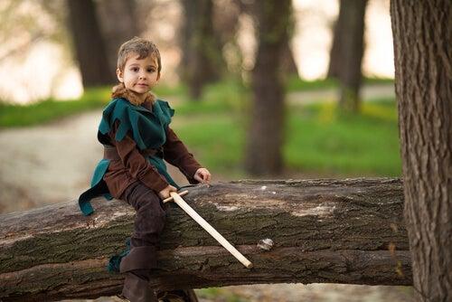 Niño vestido de Robin Hood