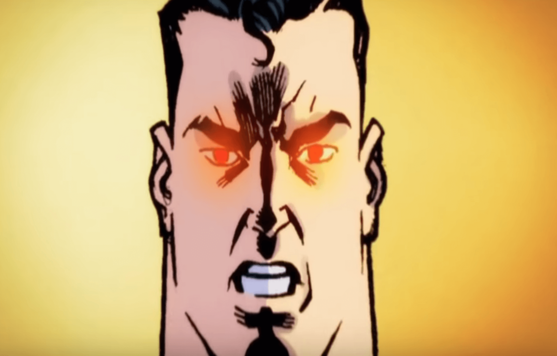 Superman con los ojos rojos