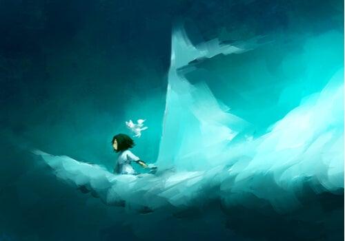Niña navegando en una nube con forma de barco