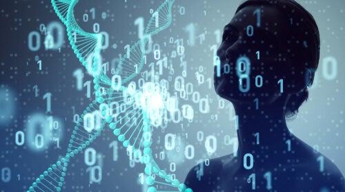 Mujer rodeada de datos