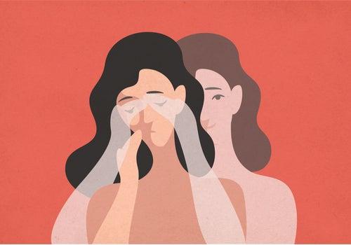 Mujer triste con las manos en la cara