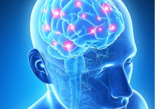 Cerebro con puntos rojos