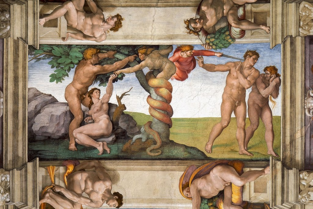 Expulsión del paraíso, obra de Miguel Ángel