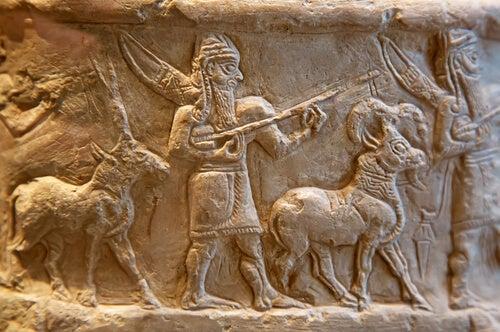Mural de un sumerio con animales