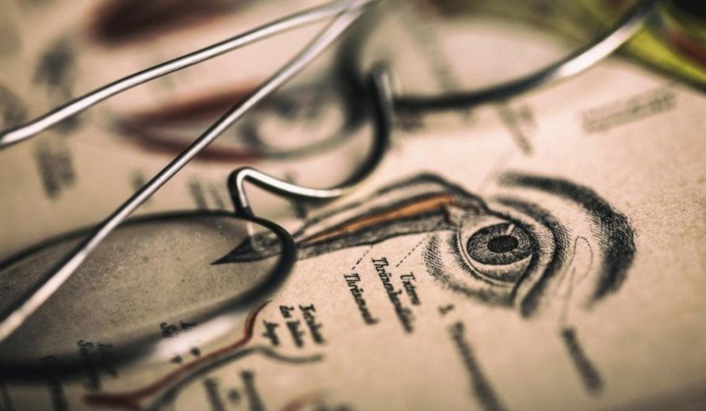 Ilustración de un ojo al que se le hace optografía