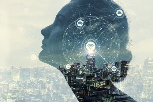 Mente de una mujer con símbolos digitales simbolizando la La flexibilidad cognitiva