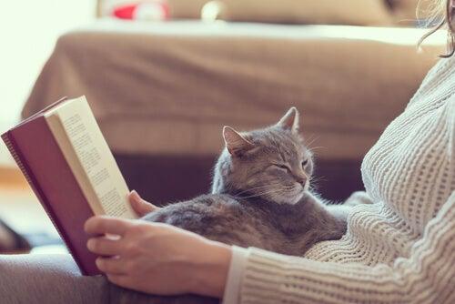 Mujer leyendo con un gato
